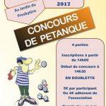 Concours de pétanque et repas – Samedi 29 et dimanche 30 juillet 14h