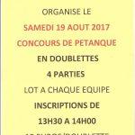 Concours de pétanque en doublettes avec l'Ablette de Chailly le 19 août