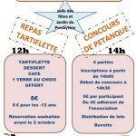 Repas tartiflette et concours de pétanque le 8 octobre